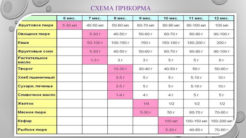 Таблица Схема прикорма малыша с 6 месяцев до года