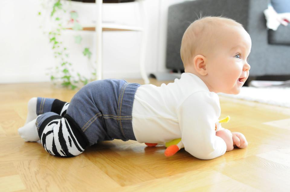 В 8 месяцев малыш активно учится ползать и ходить