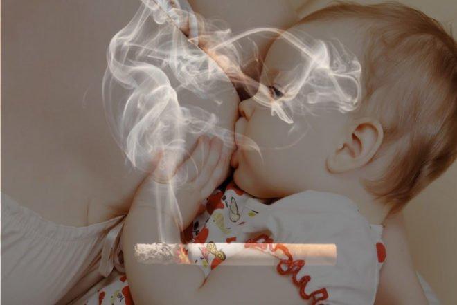 Компоненты, входящие в состав сигарет, попадают в молоко матери