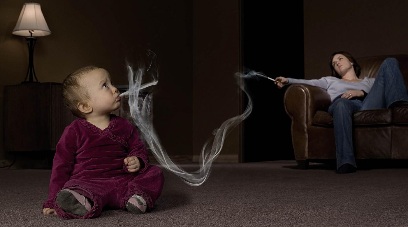 Пассивное курение грудничка