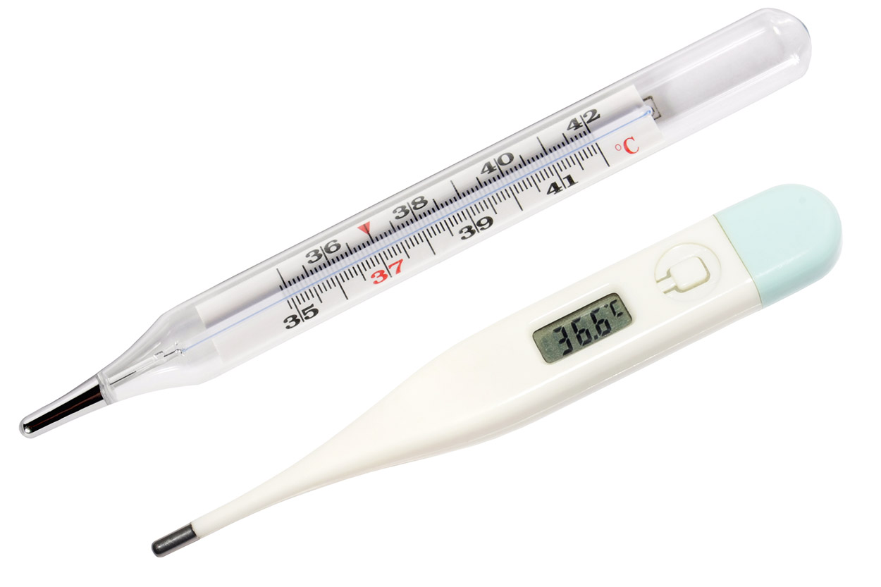 Ртутный и электронный термометры