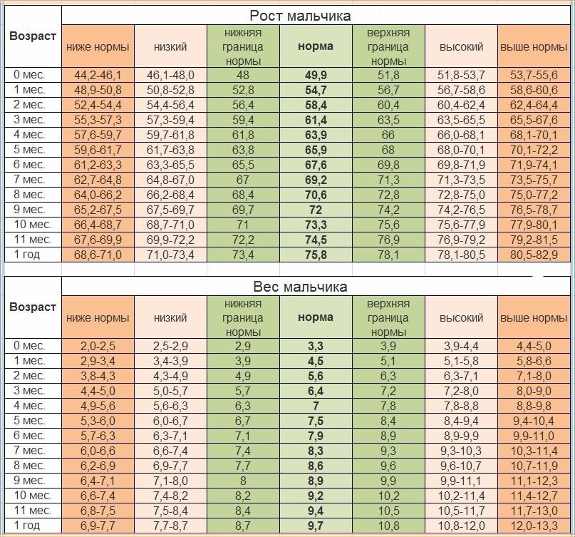 Таблица роста мальчиков до года