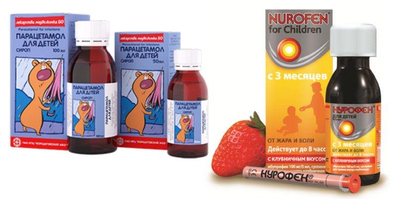 Разрешенные лекарства в виде сиропов на основе ибупрофена и парацетамола