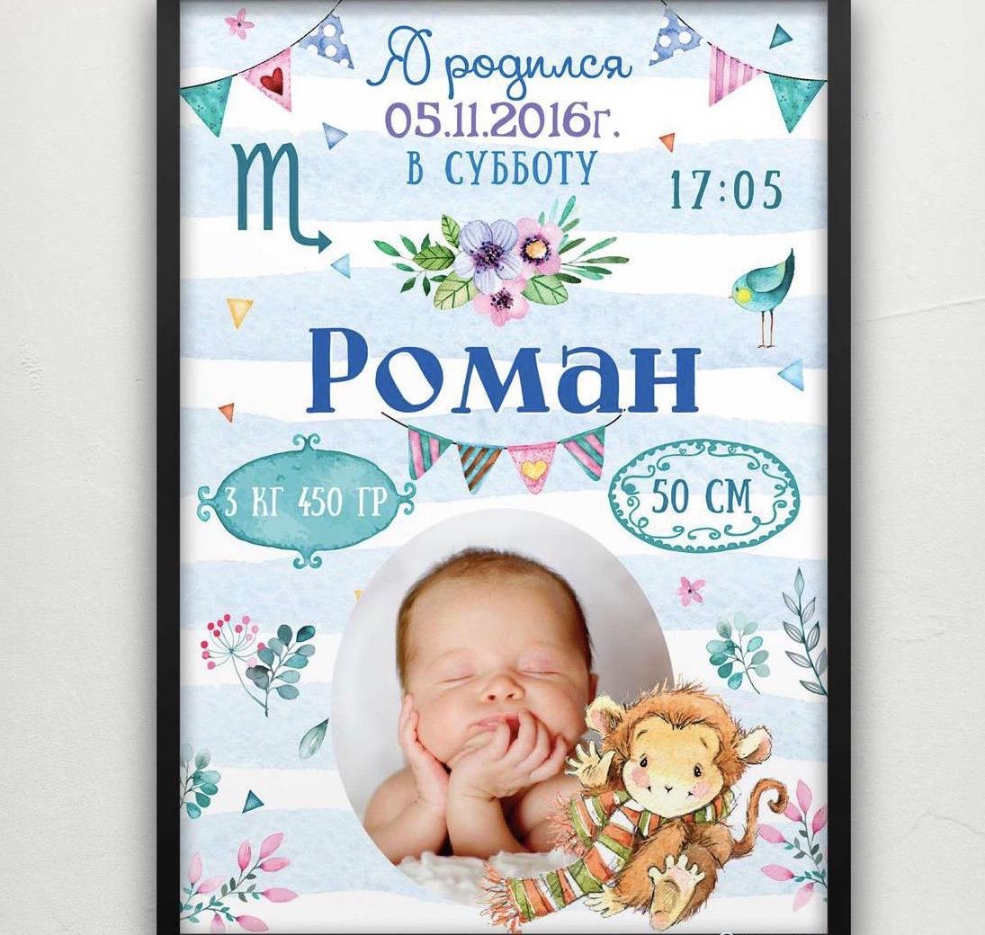 Метрика-постер для мальчика