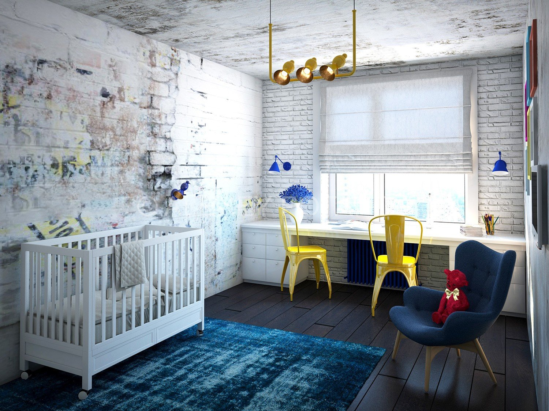 Детская в стиле лофт станет более уютной, если ее украсить теплым ковриком, игрушками «ретро»