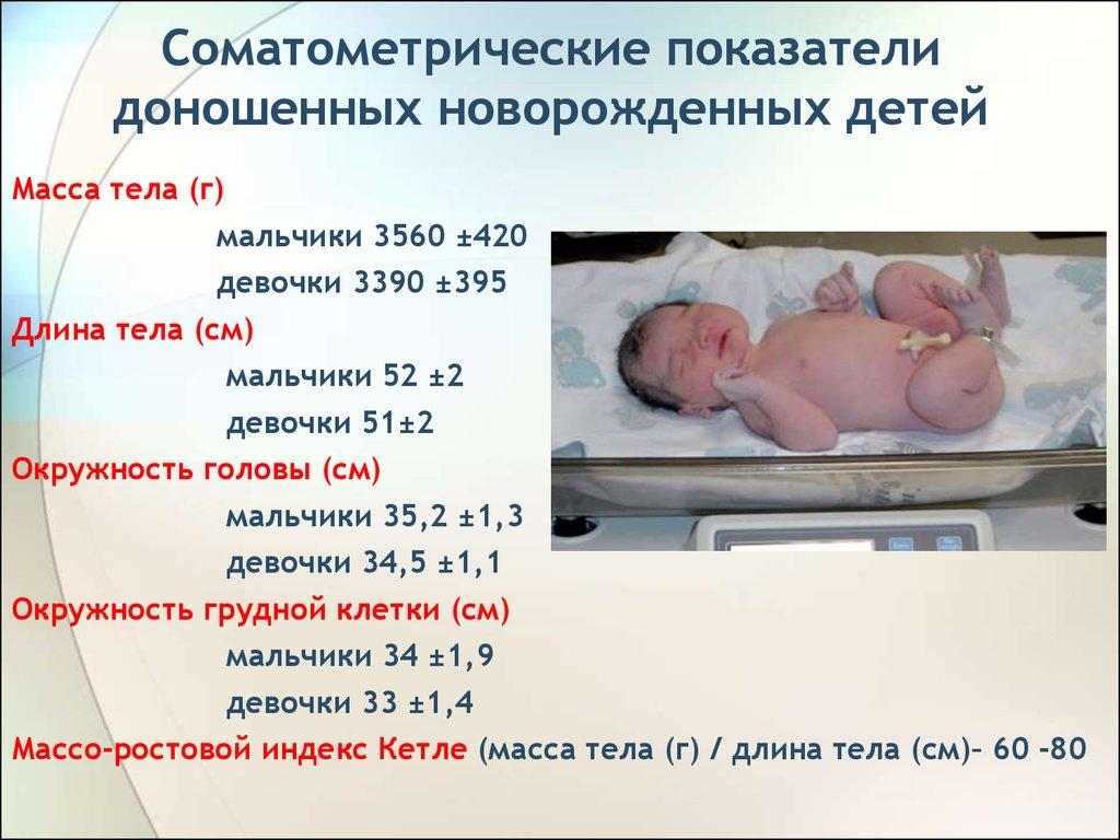 Показатели, которым должен соответствовать доношенный ребенок