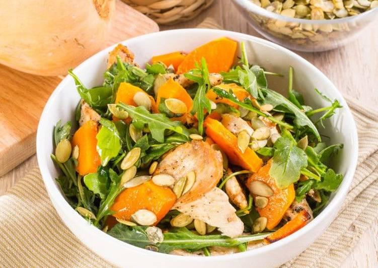 Салат из курицы с тыквой