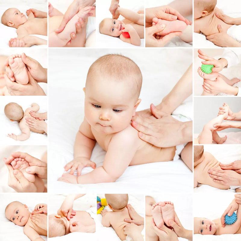 Коллаж: ребенку делают массаж