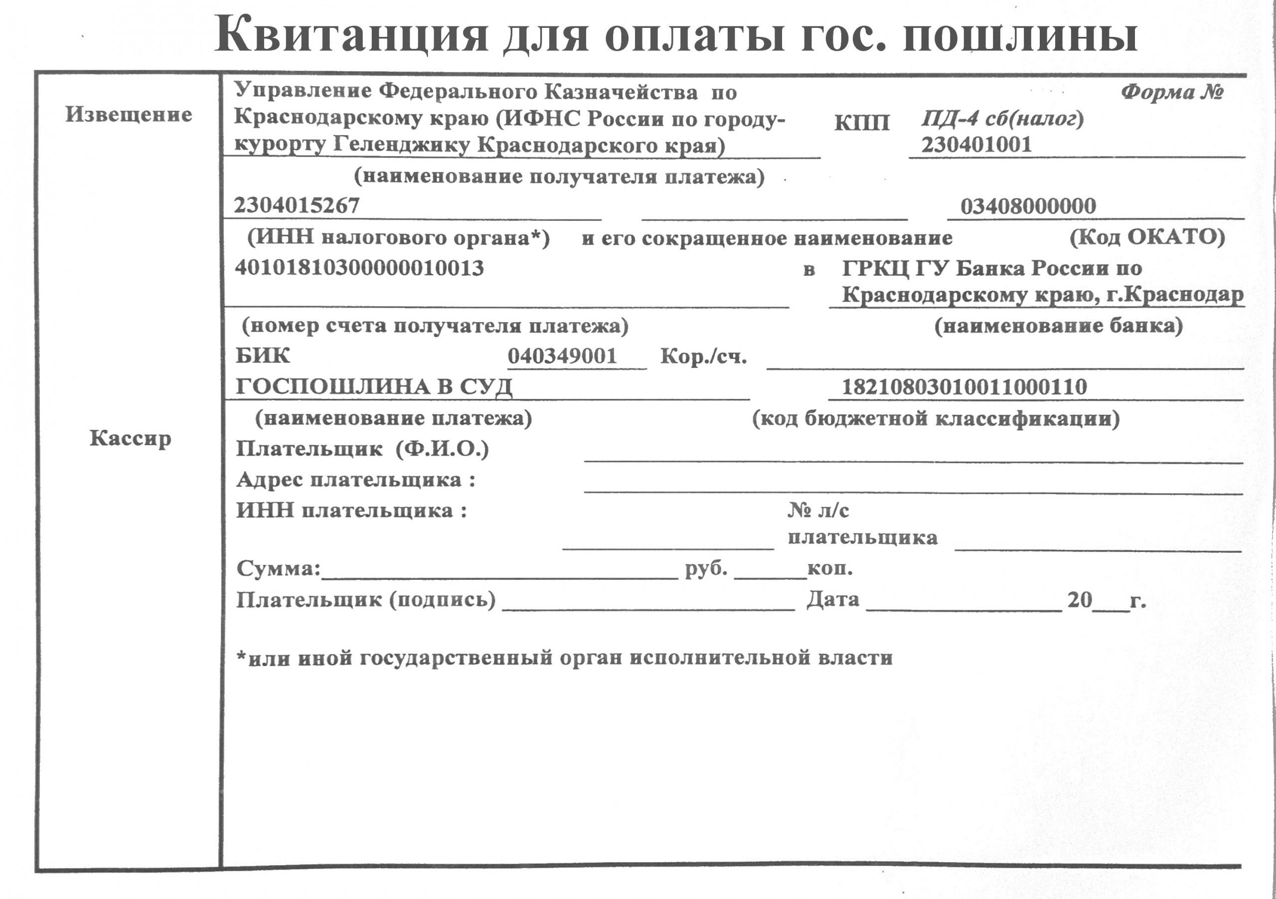 Образец квитанции по оплате государственной пошлины при выдаче повторного свидетельства