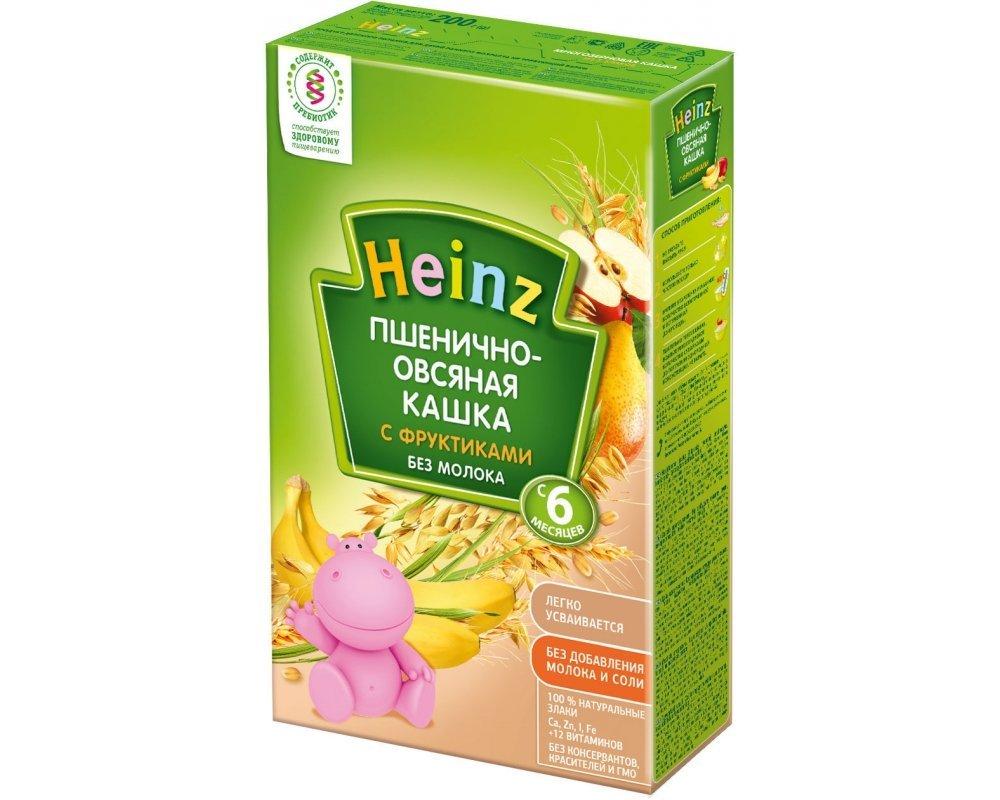 Каша безмолочная Heinz пшенично-овсяная с фруктиками