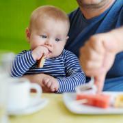 Малыш питается с общего стола